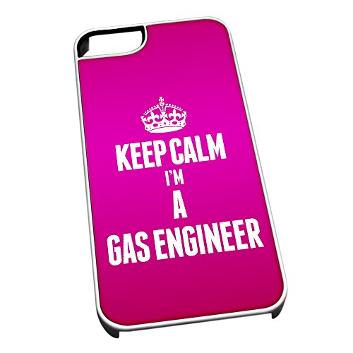 Bianco cover per iPhone 5/5S 2592 rosa Keep Calm I m A gas ingegnere