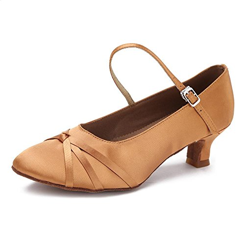 YFF Las mujeres del moderno salón de baile Zapatos de baile de tango de 5cm y 7cm de talón Brown 5cm