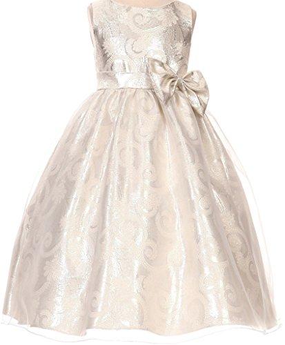 (BluNight Collection Elegant Paisley Print Jacquard Flower Girl Dresses (35K0D) Silver 6)