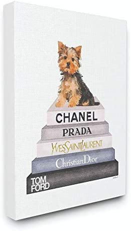 Stupell Industries Watercolor High Fashion Bookstack Yorkie Dog Stretched Canvas Wall Art, 16×20, Multi-Color