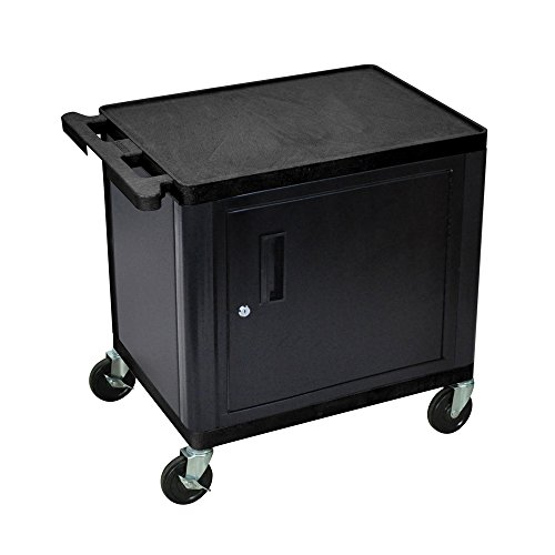 Luxor Multipurpose 2 Shelves with Cabinet AV Cart - Black by Luxor
