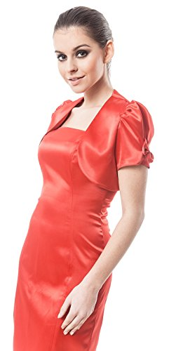 Manica Eventi E Bolero Giacca Stile Per Corta Coprispalle Speciali Perfetto Rosso Con Satinato Serate Eleganti CXXznq