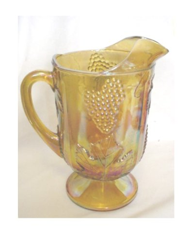Grape Carnival Glass - Vintage Marigold Carnival Glass Harvest Grape Design Pitcher by Indiana Glass Company