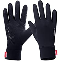 FengNiao Outdoor Cycling Gloves Men Women Touchscreen Windproof Running Hiking Driving Compression Lightweight Gloves (Black)