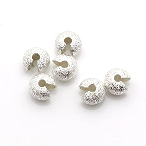 TheTasteJewelry 5mm Crimp Cover Stardust Silver Tone Lot 300 Pcs Findings Jewelry Making Finishings - Stardust Mix