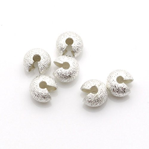 TheTasteJewelry 7mm Crimp Cover Stardust Silver Tone Lot 300 Pcs Findings Jewelry Making Finishings (Std Bead)