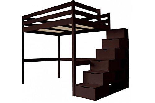 Abc Meubles Lit Mezzanine Sylvia Avec Escalier Cube Bois