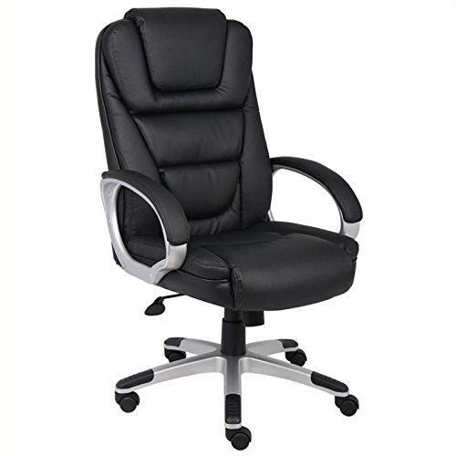Boss Office Products B8602 High Back No Tools Required LeatherPlus Chair with Knee Tilt in Black Review