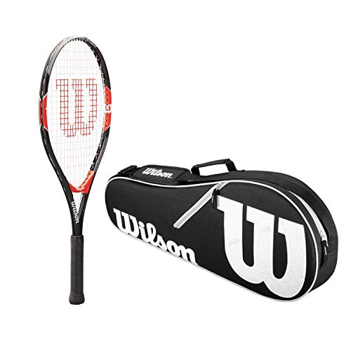(Wilson Roger Federer 25 Inch Pre-Strung Junior Black/Red Tennis Racquet Kit or Set Bundled with a Black/White Advantage 3-Pack Tennis Bag (Perfect for Kids Ages 9-10))