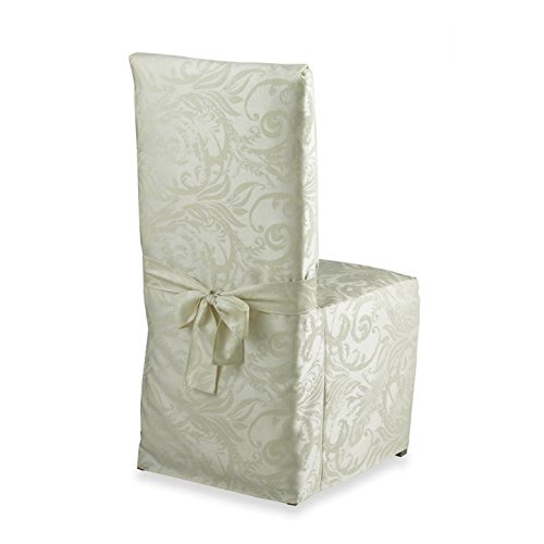 (Autumn Scroll Damask Dining Chair Cover (Ivory))