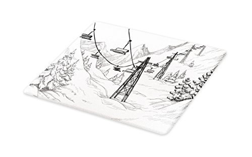 Lunarable Winter Cutting Board, Ski Lift with Fir Trees Monochrome Seasonal Holiday Destination Themed Sketch, Decorative Tempered Glass Cutting and Serving Board, Large Size, Black and White ()