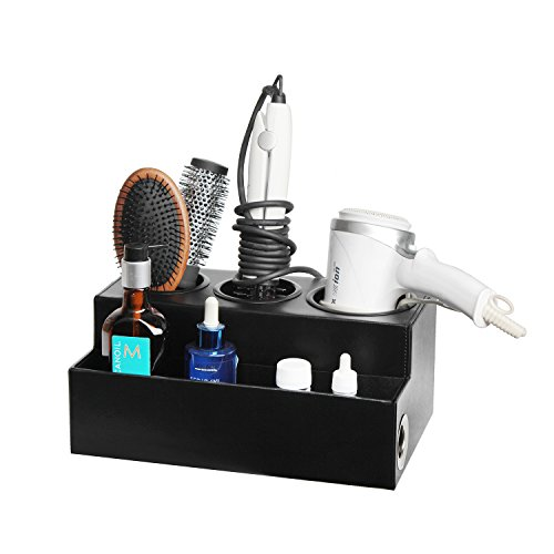 JackCubeDesign Hair Dryer Holder Hair Styling Product Care Tool Organizer Bath Supplies Accessories Tray Stand Storage Bathroom Vanity Countertop with 3 Holes(Black) – MK154C (Leather Italian Beds)