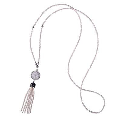 Cheap KELITCH Long Crystal Beaded Necklace with Pave Crystal Capped Tassel-Delicate Crystal Tassel Necklace for cheap