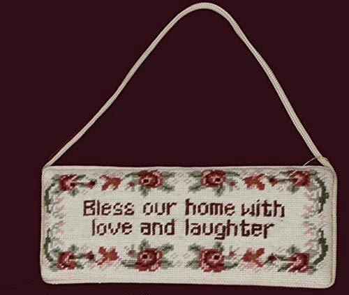 tkcreativelinenswholesale Handmade Needlepoint Door Hanger Sign Bless