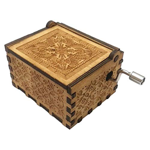 Antique Carved Wooden Music Box Hand cranked: Game of Thrones, Harry Potter, Merry Christmas, Beauty and The Beast, Star Wars, Frozen, Zelda and Lord of The Rings Theme Gift, Wood