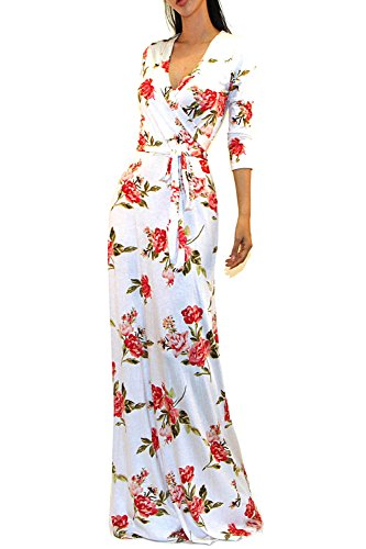 Vivicastle Women's Printed V-Neck 3/4 Sleeve Faux Wrap Waist Tie Long Maxi Dress (Medium, A31, Ivy/red) (Printed Tie Dress)