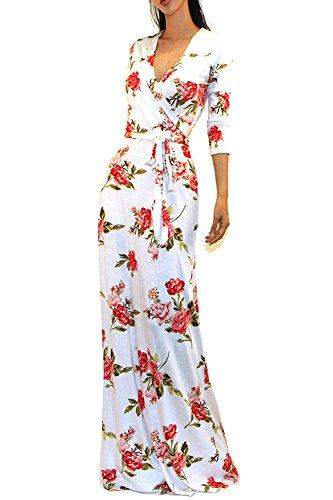 Vivicastle Women's Printed V-Neck 3/4 Sleeve Faux Wrap Waist Tie Long Maxi Dress (Medium, A31, Ivy/red) (Tie Dress Printed)