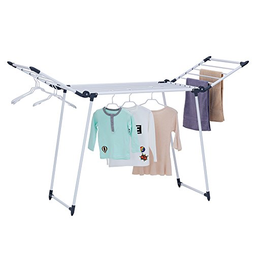 YUBELLES Gullwing Multipurpose Clothes Drying Rack, Dark Grey Rustproof Collapsible Stable Durable Laundry Rack ()