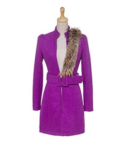 Baymate Ceinture Fausse Femmes Mince Collier Manteau Violet Avec Trenchcoat Veste Parka Fourrure Yqrqw7X