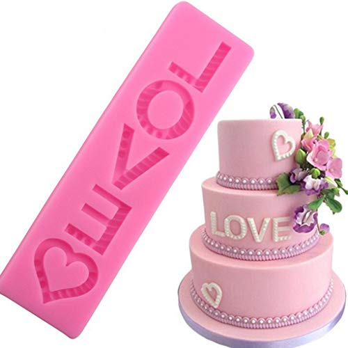 Juesi LOVE Mold Silicone Fondant Mold Chocolate Mold for Decorating Cakes, Chocolate, Candy, Baking Tool (Pink) ()