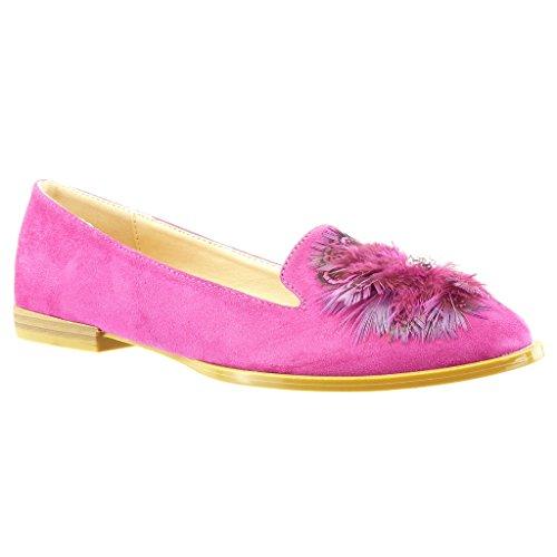 Angkorly - Zapatillas de Moda Mocasines slip-on mujer flores fantasía Talón Tacón ancho 2 CM - Fushia