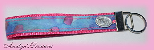 St. Gerard Wristlet Key Fob, Fabric Key Fob, Pink Key Fob, Saint Key Fob, Saint Gerard Key Fob, Fabric Wristlet Key Fob, Key chain, Key Fob