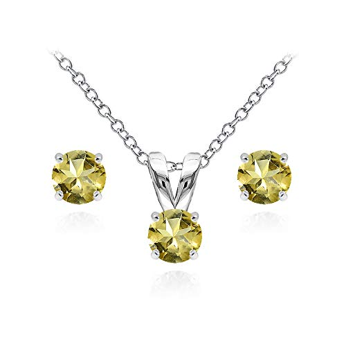 Citrine Pendant Set - Sterling Silver Citrine 5mm Round Solitaire Pendant Necklace and Stud Earrings Set for Women