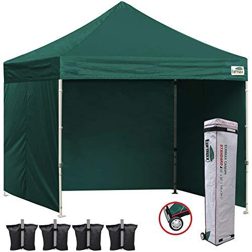 Eurmax 10'x10' Ez Pop-up Canopy Tent Commercial Instant Canopies 4 Removable Zipper End Side Walls Roller Bag, Bonus 4 SandBags (Forest Green)