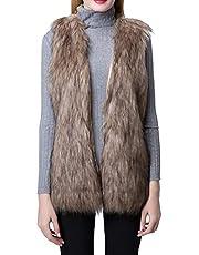 Escalier Women's Faux Fur Vest Waistcoat Sleeveless Jacket (2, Khaki)