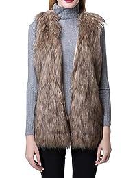 Women's Faux Fur Vest Waistcoat Sleeveless Jacket