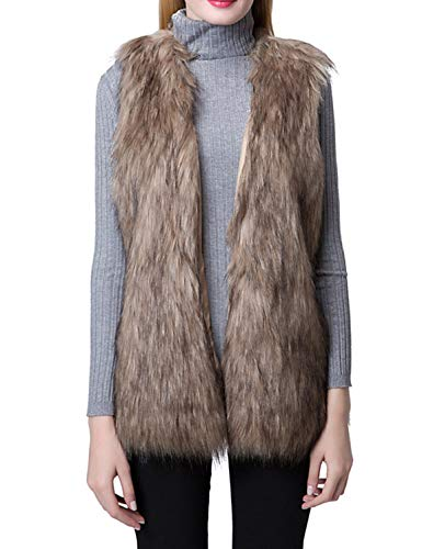 Escalier Women Faux Fur Vest Waistcoat Sleeveless Jacket, Khaki, 8/10