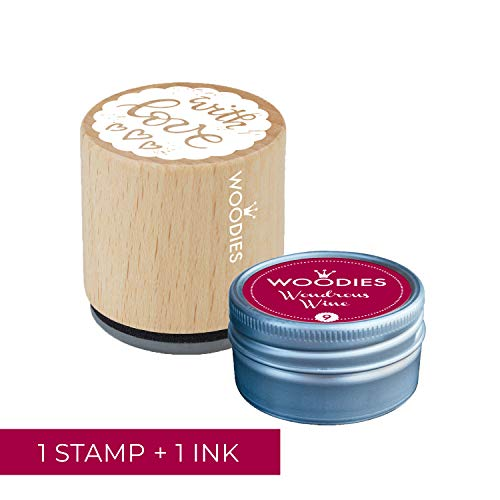 - Woodies Love Stamp with Wondrous Wine Ink Pad Set/Love Wooden Rubber Stamp and Ink Pad Set for DIY Crafts and Card Making