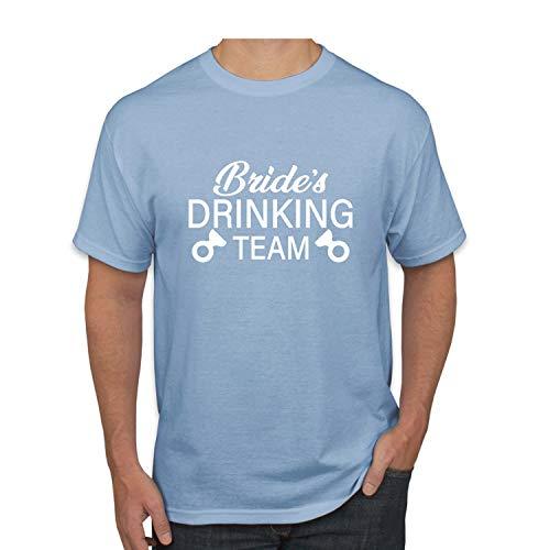 Donkey Threads Bride's Drinking Team Drinking Mens Graphic T-Shirt, Light Blue, XX-Large (Drinking Light Team T-shirt)