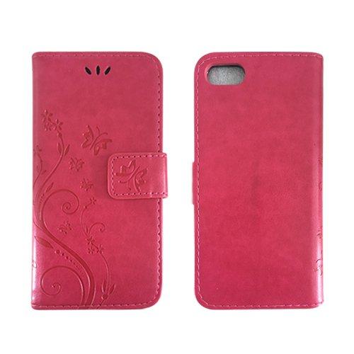 E8Q tirón del cuero carpeta del soporte del Tarjetas caso de la cubierta protectora para Apple iPhone 7 Rosa