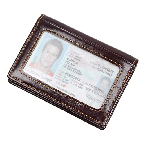 Texbo RFID Blocking Slim Leather Bifold Wallet Credit Card Case Holder With ID Window