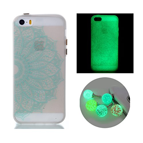 iPhone 5s Case, Bernect Colorful Luminous Clear Case Glow In The Dark Noctilucent Soft TPU Slim-Fit Cover for Apple iPhone 5/5s/SE (4.0nch) +2pcs Luminous Dustplug-Half Mandala (Case Iphone Glow In 4 The Dark)
