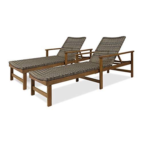 Great Deal Furniture Kyle Outdoor Chaise Lounges | Acacia Wood and Wicker | Natural Finish | Gray | Set of 2 ()