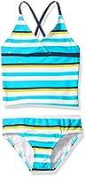 Kanu Surf Girls' Big Bridget Stripe Tankini Swimsuit, Aqua, 8