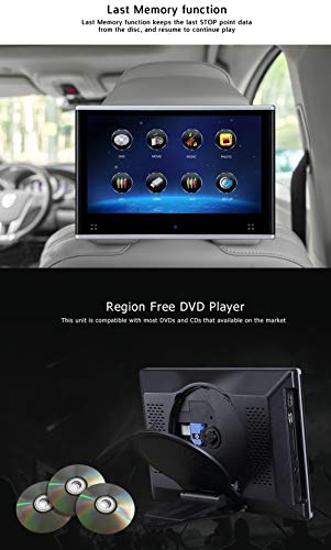 Dual Headrest DVD Player for Car Backseat Video Monitor Auto Rear Seat Entertainment System Touch Screen HD 1080P with DVD USB SD by AUTOWINGS (Image #2)