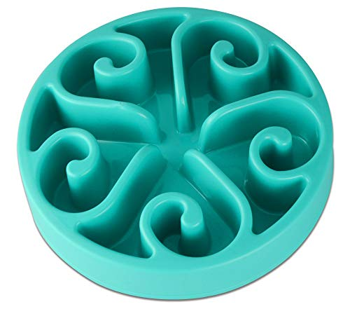 JDYYICZ Pet Dog Slow Feed Interactive Dish Ease Bloating for Small & Medium Dog and Cat (Blue)