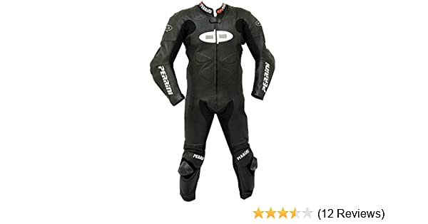 1pc Perrini Fusion Motorcycle Riding Racing Leather Suit w//Padding /& Hump White