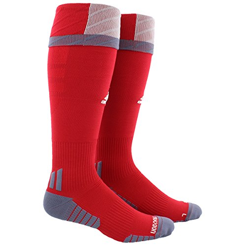 adidas Traxion Premier Soccer Socks (1-Pack), Power Red/Light Onyx/Onyx, Large