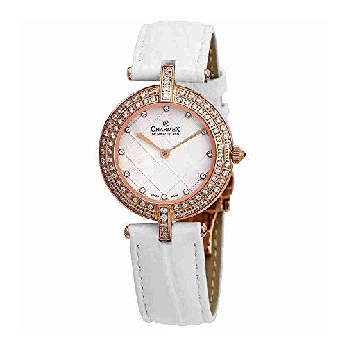 Charmex Las Vegas Crystal White Dial White Leather Ladies Watch 6390