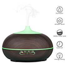 Essential Oil Diffuser, Aidodo 300ML Aroma Oil Diffuser Ultrasonic Aromatherapy Humidifier Cool Mist Air Purifier With 7 Color Changing LED Lights for Home Office Bedroom (Dark Wood Grain)