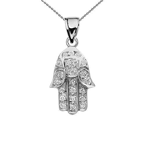 Dainty 10k White Gold Diamond Hamsa Hand Charm Pendant Necklace, 16