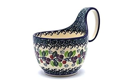 Polish Pottery Bowl with Handles 6-inch Maraschino
