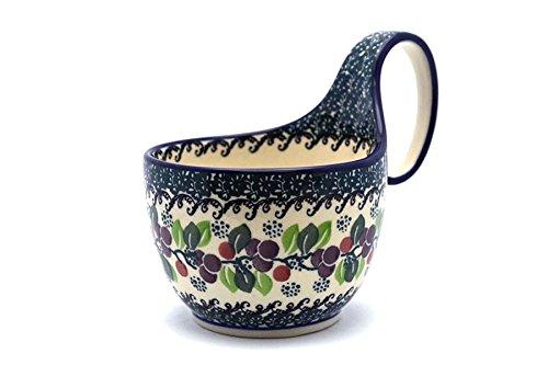 Polish Pottery Loop Handle Bowl - Burgundy Berry Green ()