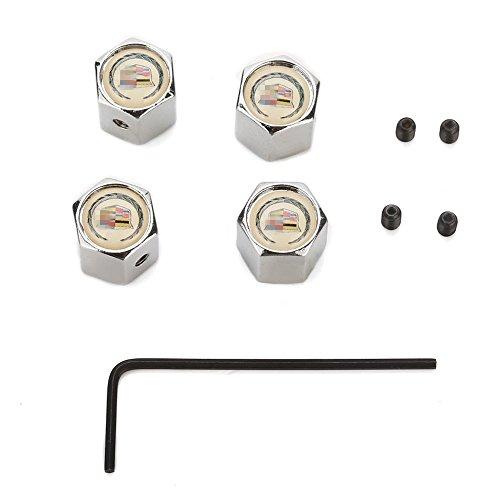 Wheel Tyre Tire Stem Air Valve Cap For Cadillac 4 pcs set ()