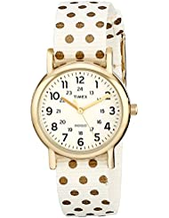 Timex Womens TW2P654009J Weekender Gold-Tone Watch with Reversible Nylon Band