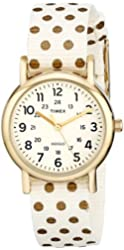 Timex Women's TW2P654009J Weekender Gold-Tone Watch with Reversible Nylon Band